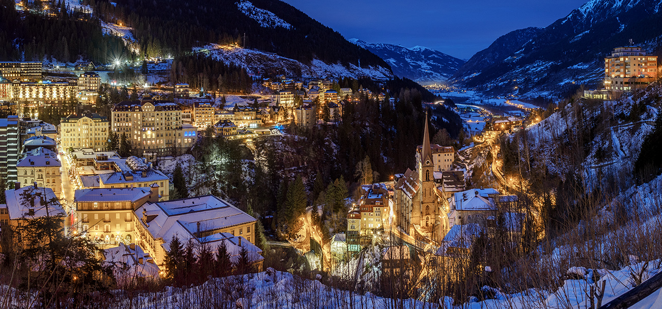 Panorama von Bad Gastein im Winter